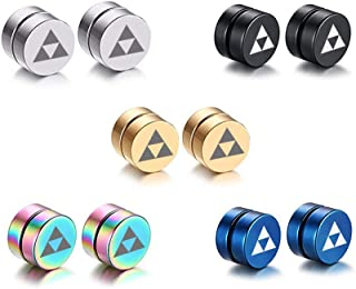 5 Pair/Set 8MM Magnet Magnetic Non Piercing Ear The Legend of Zelda Triforce Symbol Earrings