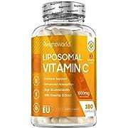 Liposomales Vitamin C - 180 vegane Kapseln - Mit 1000mg reinem Vitamin am Tag - Laborgeprüft in Deutschland - 100% Natürliche Liposomal Vitamine für Jung & Alt - Mit Hagebutte - Von WeightWorld