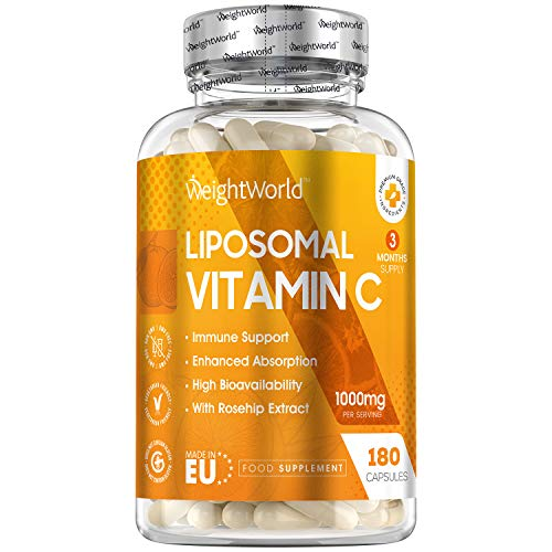Liposomal Vitamin C Capsules - 1000mg - 180 Capsules (3 Month Supply), Vitamin C Contributes to The Normal Function of The Immune System & A Reduction in Tiredness & Fatigue, Vegan - Made in EU