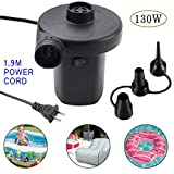 Electric Air Pump for Inflatables Air Mattress Pump 110V AC Airbed Boat Pool Raft Inflatable Pump with 3 Nozzles Black (AC)