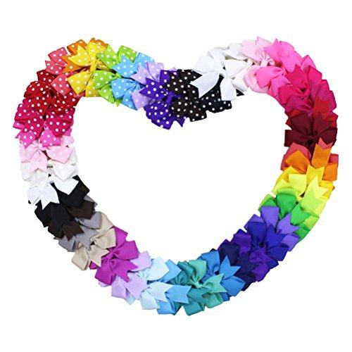 HABI 45 stk Haarschleifen mehrfarbig Haarclips Haarklammern Haarspange Haar Accessoire für Mädchen Baby aus Ripsband und Metall