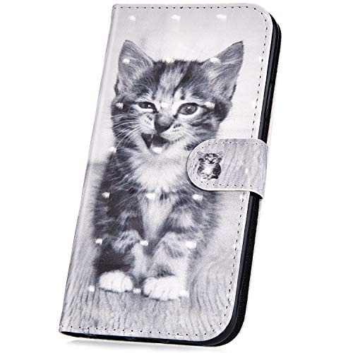 JAWSEU PU lederen portemonnee Flip Case met 3D patroon ontwerp compatibel met Galaxy A6 2018 Kat