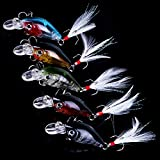 OriGlam 5 Pack Minnow Fishing Lure Crank Bait, Fishing Bass Bait Lures Hard Artificial Bait, Crankbait Fishing Lures Hooks 3D Eyes for Bass Fishing Lure Freshwater and Saltwater