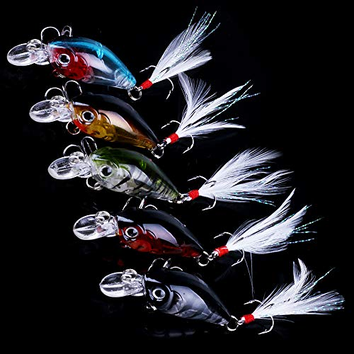 OriGlam 5 Pack Minnow Fishing Lure Crank Bait, Fishing Bass Bait Lures Hard Artificial Bait, Crankbait Fishing Lures Hooks 3D Eyes Bass Fishing Lure Freshwater Saltwater