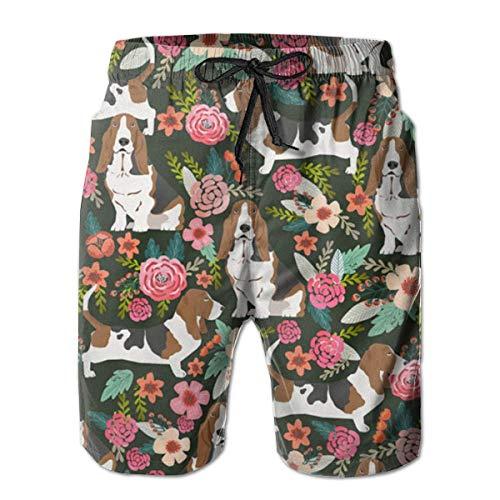 Basset Hound Dog Floral Men Fashion Swim Trunks Pantalones Cortos Deportivos de Secado rápido Pantalones Cortos de Playa de Verano Pantalones Cortos con Bolsillo M