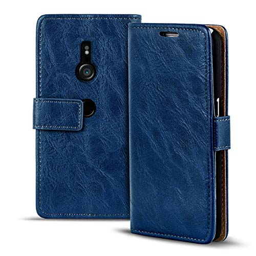 Verco Xperia XZ3 Hülle, Premium Handy Schutzhülle für Sony Xperia XZ3 Hülle PU Leder Wallet Tasche Retro Flipcase, Blau