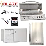 Blaze LTE 5-Burner 40' Natural Gas Grill w/ Outdoor Rated Fridge, 40' Door and Drawer Combo, Rotisserie Kit, Grill Cover & 5in1 BBQ Tool