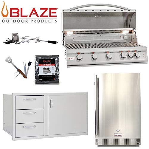 """Blaze LTE 5-Burner 40"""" Natural Gas Grill w/ Outdoor Rated Fridge, 40"""" Door and Drawer Combo, Rotisserie Kit, Grill Cover & 5in1 BBQ Tool Gas Grills Natural"""