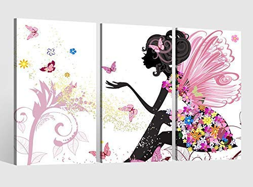 Leinwandbild 3 tlg Kinderzimmer Fee Prinzessin Kat2 Schmetterlinge Bild Leinwand Leinwandbilder Wandbild 9AB1617, 3 tlg BxH:120x80cm (3Stk 40x 80cm)