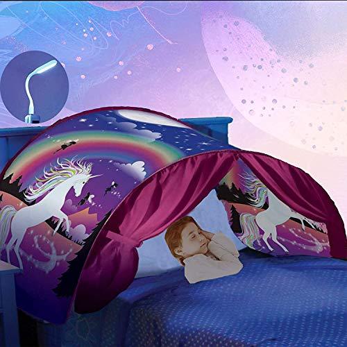 Mgee Tienda de Cama Infantil, Tiendas de Ensueño, Pop up Tienda, Carpa Juego Plegable Mágica para Niños, Regalos De Cumpleaños (A-Unicornio)