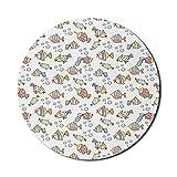 Alfombrilla de ratón para acuario para computadoras, ilustración de tema de guardería de peces de colores y burbujas en un fondo liso, redonda, antideslizante, de goma gruesa, moderna alfombrilla de r