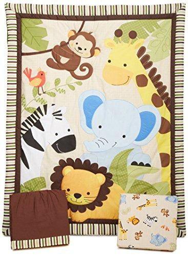 PEGANE Ensemble de literie pour Enfants, Motifs Jungle (Lot de 3 pièces: Couette, lit bébé Jupe et Drap Housse), 41.9 x 41.9 x 12.7 cm