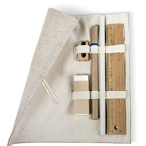 Nachhaltiges Mäppchen Schlampermäppchen Federtasche aus Jute und Baumwolle Holzknopfverschluss 15 cm Bambuslineal Bleistift Kugelschreiber Holzspitzer Radiergummi von notrash2003®
