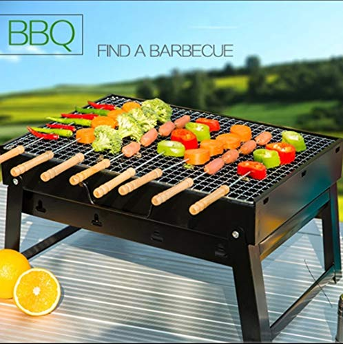 Portable Barbecue Charcoal Grill Foldable Lightweight Large Skillet BBQ Premium Smoker Grill for Outdoor/Backyard/Camping
