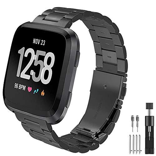 PUGO TOP, cinturino per smartwatch Fitbit Versa, stile maglia milanese con magnete, in acciaio inox
