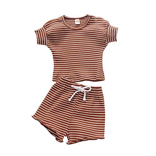 LEXUPE Neugeborenes Baby Mädchen Jungen Gestreiftes T-Shirt Tops Shorts Outfits Kleidung Set(Kaffee,80)