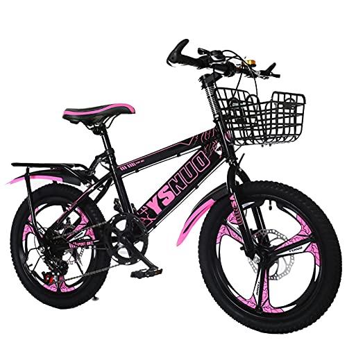 Axdwfd Infantiles Bicicletas Ciclismo de 18-20 Pulgadas y niñas, Adecuado para niños de 7 a 14 años, Azul, Rojo, Rosa (Color : Pink, Size : 18in)