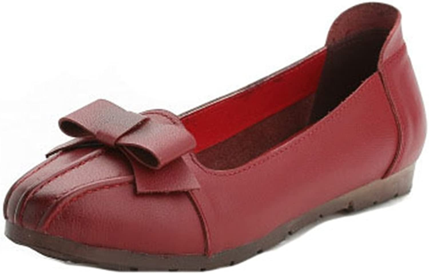 GIY Women's Classic Penny Loafer Wingtips Pointed Toe Comfort Flats Slip On Bowknot Dress Loafers shoes
