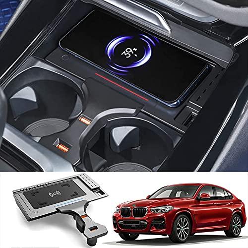 Inalámbrico para Coche Cargador,para BMW X3 X4 2018-2021 Consola Central Tablero de Carga con USB QC3.0 Puerto Cargador de teléfono móvil 15W Qi Rápido Cargar para Todos los teléfonos Inteligentes QI