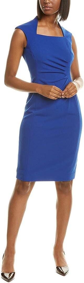 Tahari ASL Women's Sleeveless Square Neck Side Ruched Dress