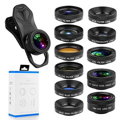 Orlegol 11 in 1 Handy Objektiv, Universal Kamera Lens Kit mit 0,63X Weitwinkel&10X Makro+205° Fisheye+CPL+Farbverlaufsfilter (Blau, Gelb, Orange, Grau)+Starburst Objektiv für iPhone Samsung Huawei HTC