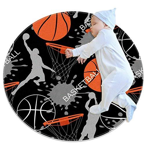 huhulala Alfombra redonda de baloncesto para bebé gatear alfombra de algodón para niños antideslizante juego manta decoración de habitación