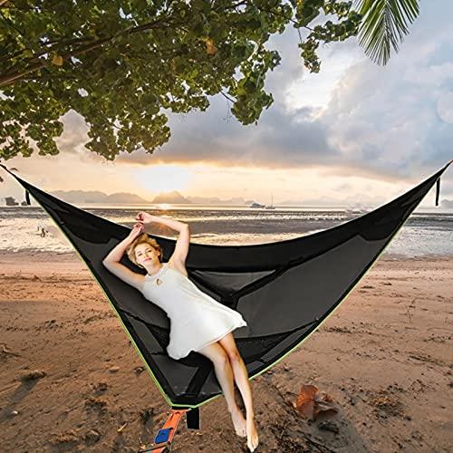 Hamaca para acampar aérea gigante revolucionaria - Hamaca portátil para varias personas de 3 puntos, hamaca triangular al aire libre para niños, tienda de campaña en el cielo (negro2 metros)