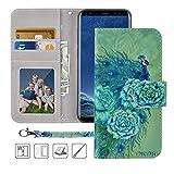 Galaxy S8 Plus Wallet Case, Samsung Galaxy S8 Plus Case,MagicSky Premium PU Leather Flip Folio Case Cover with Wrist Strap, Card Holder,Cash Pocket,Kickstand for Galaxy S8 Plus(Green Peacock)