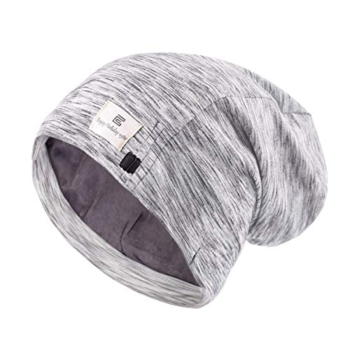 Sleep Slap Night Cap Women Satin Silk Hair Wrap for Sleeping, Adjustable Gray Satin Lined Curly Hair Covers Bonnet Head Scarf Cute Stay On Slouchy Beanie, Gifts for Women