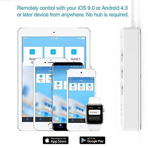 Koogeek Regleta WI-FI Inteligente 3 Enchufes 3 USB Compatible con Alexa