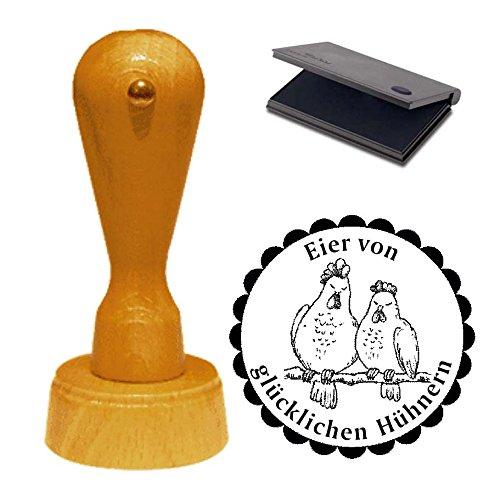Stempel « Eier von glücklichen Hühnern » mit Motiv Hühnerpaar und schwarzem Kissen