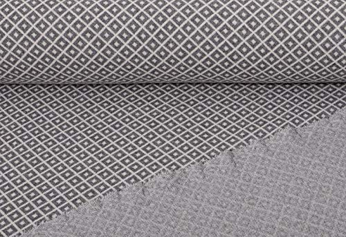 Jacquard Strickstoff, Grau, als Meterware zum Nähen - grafisches Muster - recycelt, 50 cm