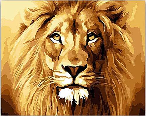 DUANGONGZI Pintar por números DIY Colorear con Colores Leona Cachorro de león Rey del Bosque Imagen Dibujo Pintura para el hogar-No Frame-40X50CM