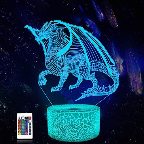 CooPark Luz de noche de dragón 3d, lámpara de dragón 16 colores cambian con control remoto decoración de dormitorio de niños como regalos de cumpleaños navideños para niño-niña