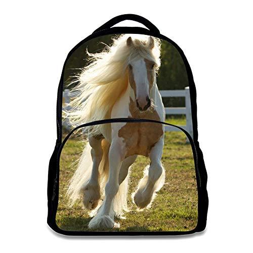 Backpack, for Age 6-16 Kids Boys Girls Shoulder Laptop Bag Horse Design