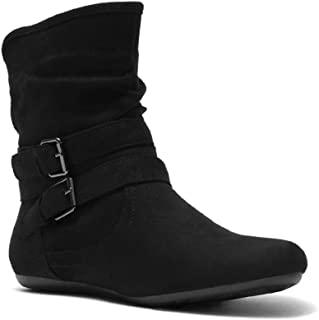 Herstyle Lindell Women's Fashion Flat Heel Calf Boots Side Zipper Slouch Ankle Booties