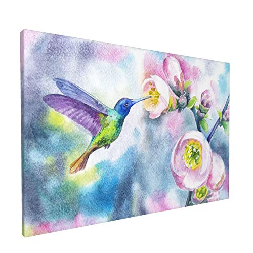 Canvas Wall Decor Art Painting Print, Watercolor Hummingbirds With Spring Flowers Home Decoration Artwork Framed Picture Ready To Hang 12x18 Inches