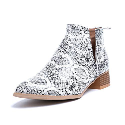 Botines Mujer Tacon Botas Chelsea Comodos Zapatos de Vistir PU Cuero Botin Western Cortas Otoño Fiesta Ancho 3.5 CM Serpiente 38