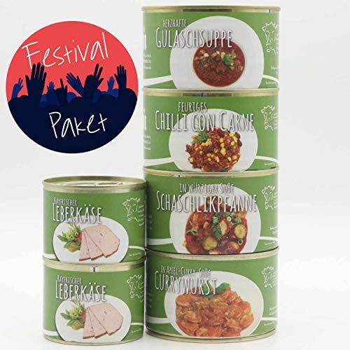 Feinkost Konserven Set, Nahrung, Diem Dosenset für Festivals 4x400g + 2x200g (Chilli, Gulasch, Schaschlik, Currywurst, Wurst)
