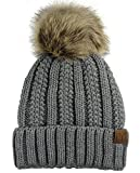 Image of C.C Thick Cable Knit Faux Fuzzy Fur Pom Fleece Lined Skull Cap Cuff Beanie, Light Melange Gray