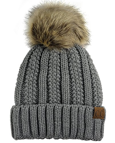 C.C Thick Cable Knit Faux Fuzzy Fur Pom Fleece Lined Skull Cap Cuff Beanie, Light Melange Gray