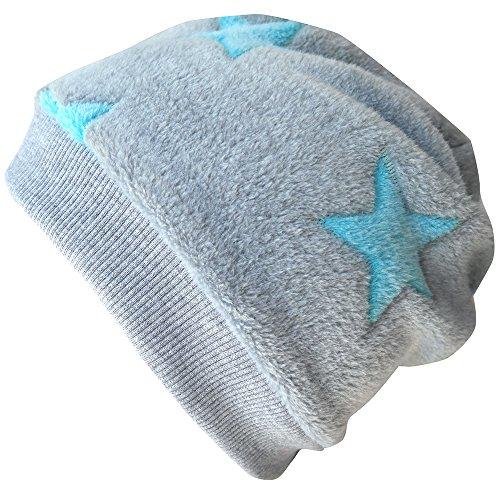 WOLLHUHN Warme Beanie-Mütze / Babymütze grau mit helltürkisfarbenen Sternen, Wellnessfleece, für Jungen und Mädchen, 20160810, Größe M: KU 51/53 (ca 3-5 Jahre)
