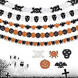 LIVESTN Halloween Banner Decoration,5 Stücke Halloween Girlande Banner Deko,Halloween Girlande Spinne Girlande Kürbis Banner Papier Hängendeko für Halloween Party Grusel deko