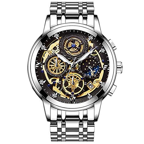 Reloj cronógrafo impermeable con fecha de reloj de acero inoxidable de moda para hombre, reloj impermeable con banda de acero inoxidable (C)