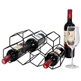 Tabletop Hexagon Wine Rack - 9 Bottle Wine Holder for Wine Storage - No Assembly Required - Modern Black Metal Wine Rack - Wine Racks Desktop - Small Wine Rack and Wine Bottle Holder (Black)