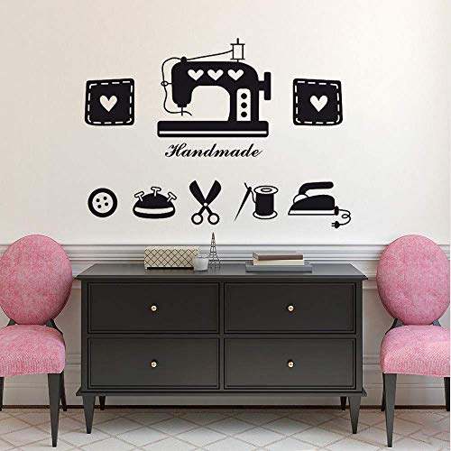 Makeyong Kleding Shop Window Decal Tailor's Shop Vinyl Muursticker Naaimachine IJzeren Schaar Muur Mural Naaiwinkel Decor42X30Cm