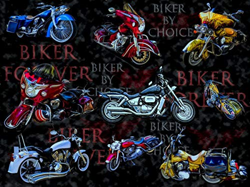 David Textiles Motorcycle Biker By Choice Cotton Fabric