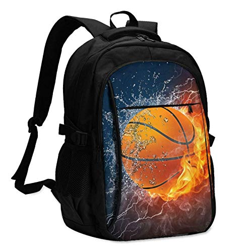 XCNGG Basketball Ball in Fire and Water Unisex Travel Laptop Backpack with USB Charging Port School Anti-Theft Bag