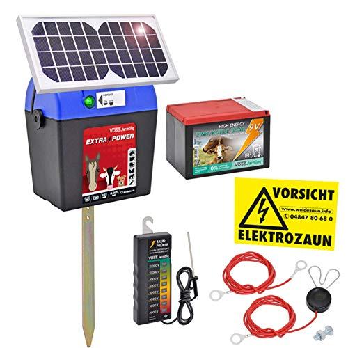 VOSS.farming Weidezaungerät 9V inkl. Batterie, Solar, Zubehör, passend für den Elektrozaun und Weidezaun