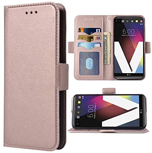 Phone Case for LG V20 Folio Flip Wallet Case,PU Leather Credit Card Holder Slots Heavy Duty Full Body Protection Kickstand Hard Hybrid Protective Phone Cover for LGV20 V 20 LG20 Women Men Rose Gold